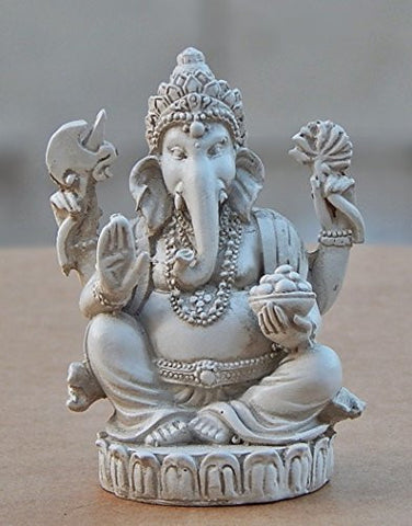 Rare Lord Ganesh Ganesha Beautiful Statues Hindu Good Luck God - White Statues
