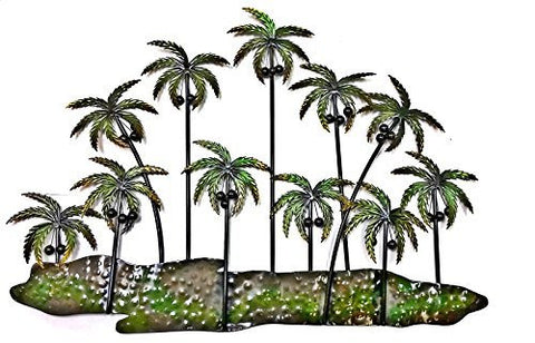 "Palm Trees of Life Metal Wall Art Sculpture Home Decor Decoration 38""w, 25""h"