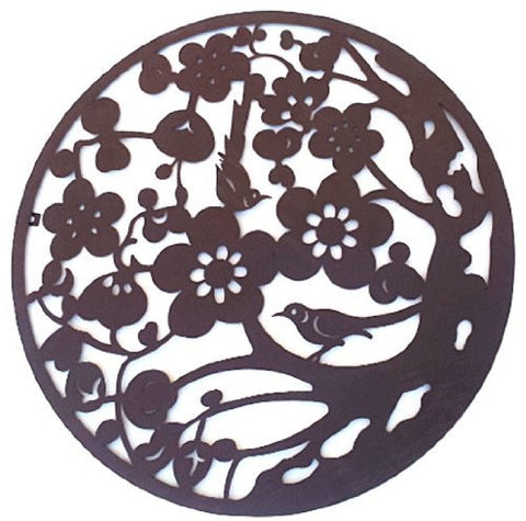 Tree of Life Metal Wall Hanging Garden Art 24 Inches - Bird Songs