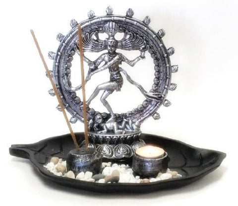 "8"" Natraj Statue with Incense Burner and Votive T-light Candle Holder and Altar Tray"