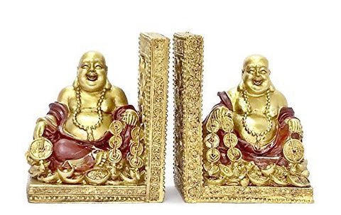 Bellaa Decorative Bookends Golden Laughing Buddha Statues Book Ends, Figure, Limited Edition
