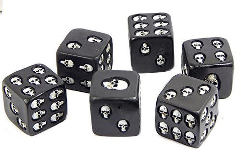 Bellaa Decorative Black Skull Dice Set of 6