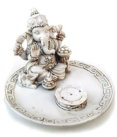 White Beautiful Lord Ganesh Incense Sticks Holder - Ganesha, Laxmi, Shiva, Durga, Kali