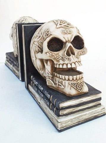 Skull Decor Pair of Skull Bookends with Depicting Celtic Knot Design - Book Ends Omg!
