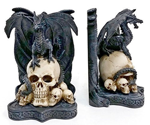 Bellaa Decorative Bookends Dragon Skull Decor - Big Heavy