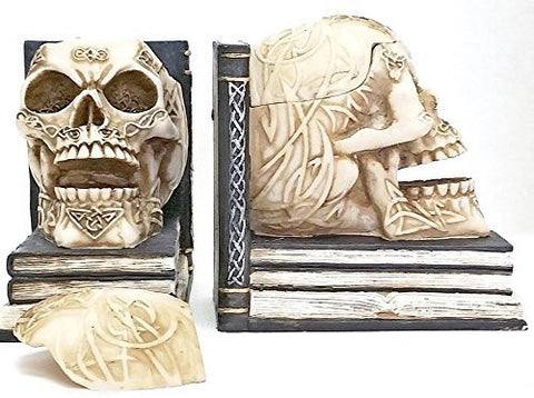 Bellaa Decorative Bookends Skull Decor: Pair of Skull Book Ends with Small Storage Depicting Celtic Knot Design