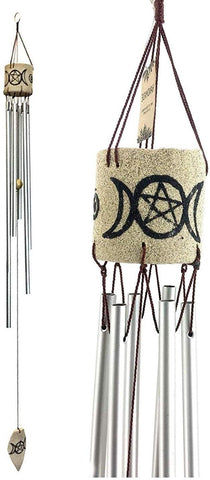 Bellaa 24612 Bamboo Wind Chimes Triple Goddess Celtic Triple Moon Pentacle Goddess Maiden Mother Crone Garden Gifts  37 Inch