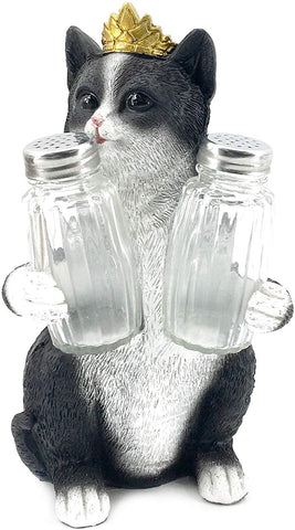 Bellaa 20126 Decorative Black & White Kitty Glass Salt and Pepper Shaker Wholesale Liquidation 12 Pcs. Case