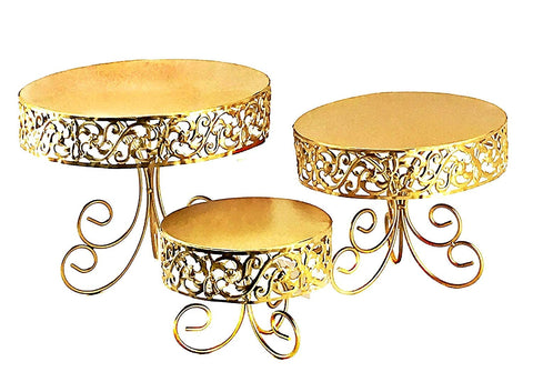 "Bellaa 27307 Metal Cake Stand 12"" 10"" 7"" inch Set of 3 Gold"
