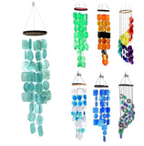Bellaa 20744 Capiz Windchime Sea Shell Blue Tinted Exquisite Turquoise 26""