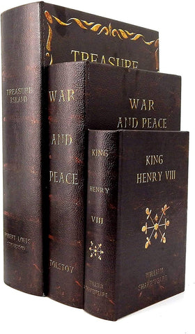 Bellaa 28182 Book Boxes War And Peace The Old Man and The Sea and A Farewell To Arms Set of 3