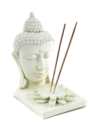 "Bellaa 23323 Buddha Statues Head 7"" Tlight Incense Stick Holders Wholesale Liquidation 12 Pcs. Case"