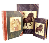 New Royal Horses Set of 3 Large Nesting Book Boxes, flux bookSet of three 13,10, 7 inches