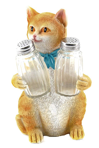 Bellaa 29219 Cat Salt Pepper Shaker Holder 8.5 Inch Orange Tabby Wholesale Liquidation 12 Pcs. Case