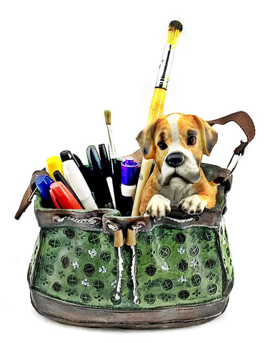 "Bellaa 23479 Dog Flower Planter Vase 8"" Pencil Holder Puppy Deal of The Day  Wholesale Liquidation 4 Pcs. Case"
