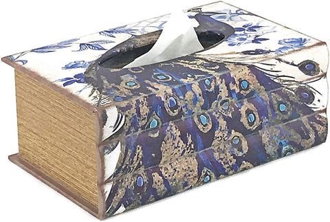 Bellaa 21529 Peacock Tissue Box Napkin Paper Holder Tray Rectangular Large Fit Most Box