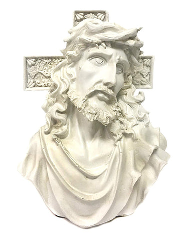 "Bellaa 22670 Jesus Cross Statue Bust Tabletop Sculpture 7"" Wholesale Liquidation 12 Pcs. Case"
