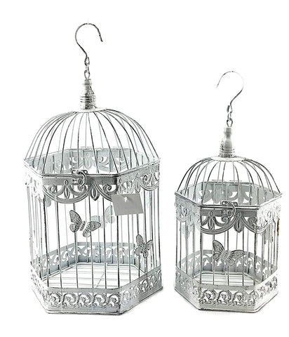 Bellaa 23585 Metal Square Bird Cage Set of 2