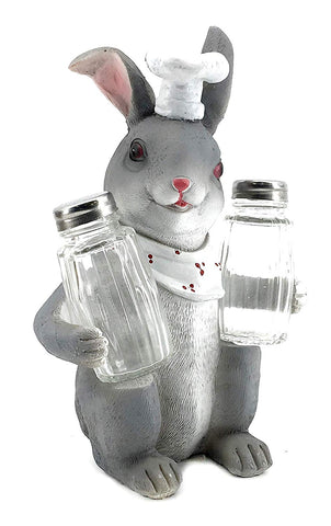 "Bellaa 20089 Bunny Salt & Pepper Shaker Set Rabbit Chef Statues 9"" Inch  Wholesale Liquidation 12 Pcs. Case"
