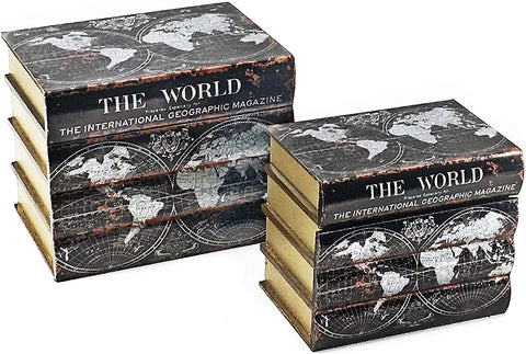 Bellaa 23439 Book Box Bookends Hidden Storage Set of 2 Wood 8 inch Old World Map Black