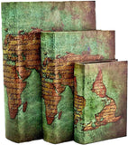 Bellaa 28007 Decorative Book Boxes World Map Pattern Antique Book Invisible Box with Magnetic Cover Faux Wood Set of 3