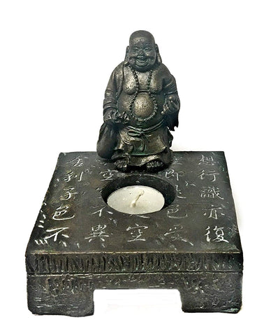 Bellaa 22557 Laughing Buddha Statues Tealight Candle Holders Wholesale Liquidation 12 Pcs. Case