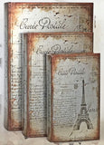 Bellaa 28069 Decorative Book Box Paris Eiffel Tower Set of 3