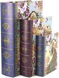 Bellaa 28014 Decorative Book Box Peacock Antique Book Invisible Box Set of 3