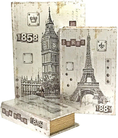 Bellaa 28083 London Paris New York Decorative Book Boxes Antique Invisible Magnetic Cover Set of 3