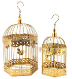 Bellaa 23592 Antique Vintage Bird Cages Metal 2Pcs 20 inch 16 inch Golden