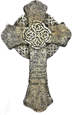 "Bellaa 22212 Celtic Cross Irish Trinity Knot Wall Hanging 9"" inches Antiques White Wholesale Liquidation 24 Pcs. Case"