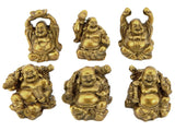 Bellaa 24245 Golden Laughing Buddha Statues Lucky Jolly Hotei Set of 6