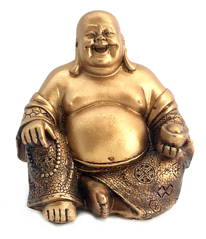 "A Golden Happy Buddha (Laughing Buddha) Feng Shui for Money and Wealths 6"" Inches Copper Color"
