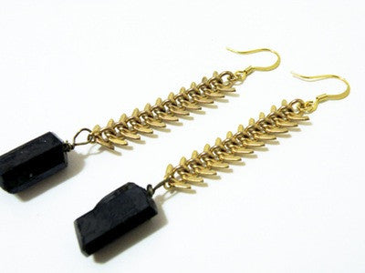 Fishbone Nlack Tourmaline Earrings - Ultraviolet   - 2