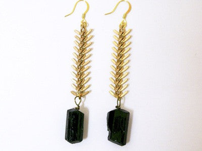Fishbone Nlack Tourmaline Earrings - Ultraviolet   - 1