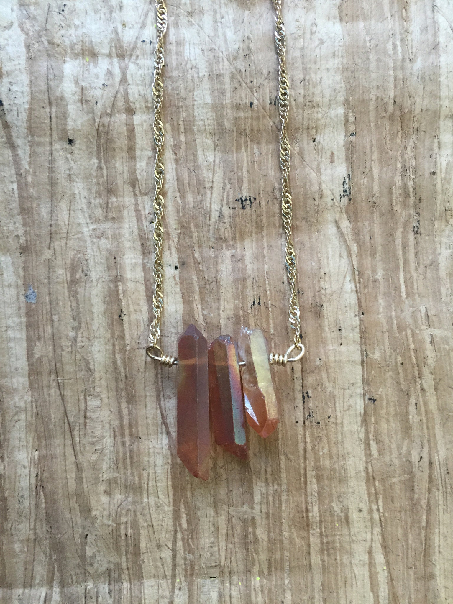 Triple Sunshine Aura Quartz Necklace - Ultraviolet   - 4