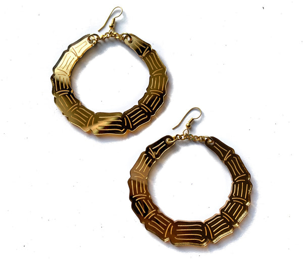 Bamboo Bangas Gold Mirror Acrylic Earrings