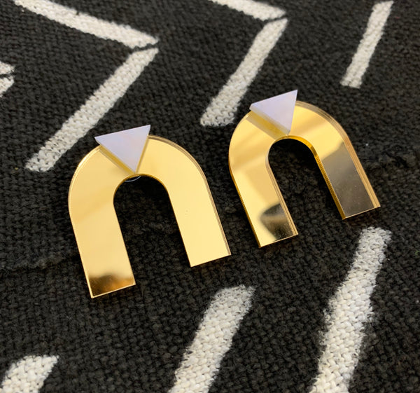 Arch Deco Earrings (Gold Mirror)