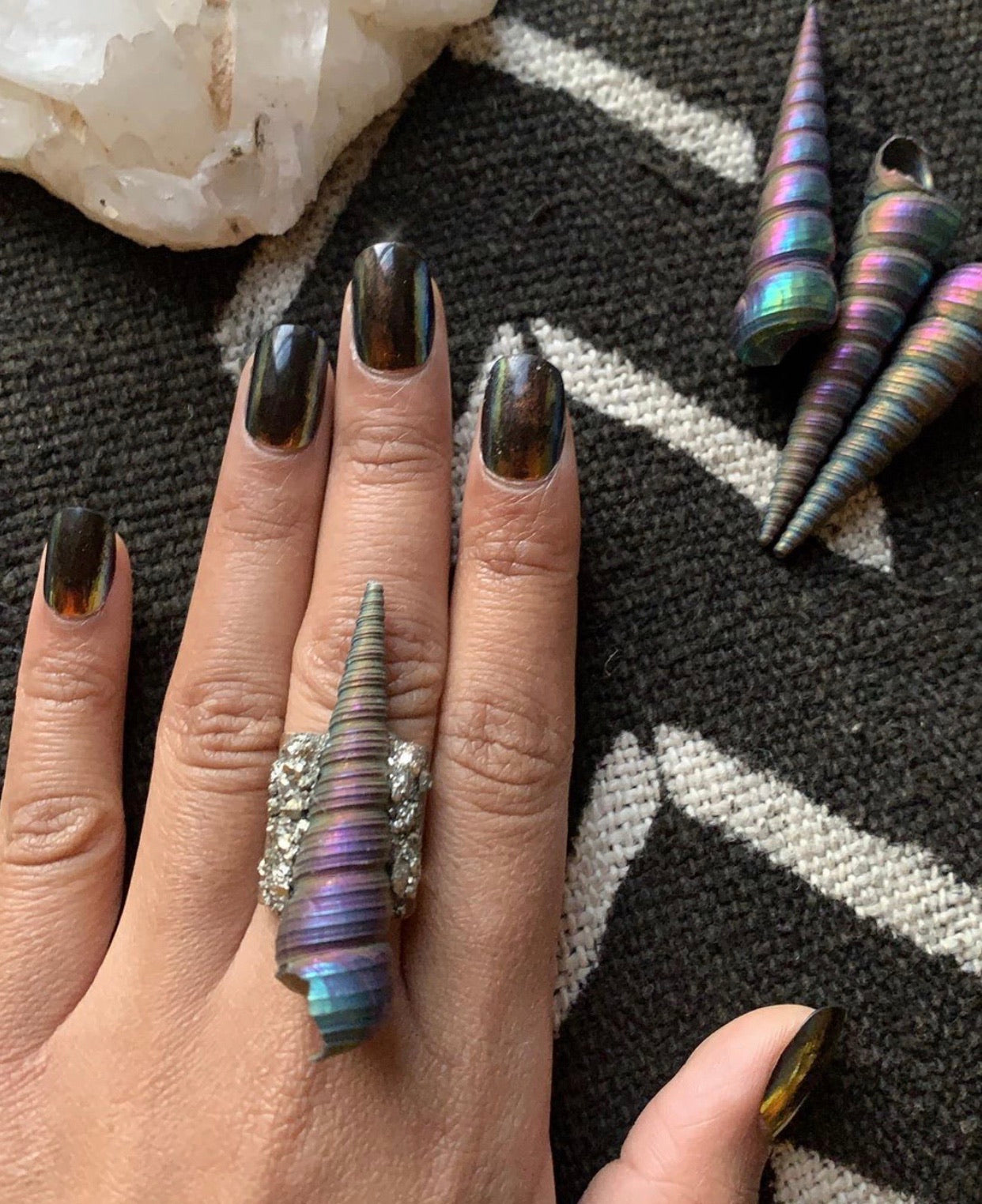 "Rainbow Aura ""Unicorn Horn"" & Pyrite Ring"