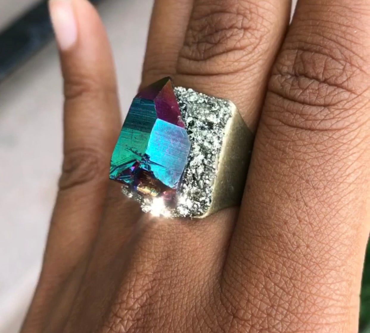 Rainbow Aura Quartz & Pyrite Ring