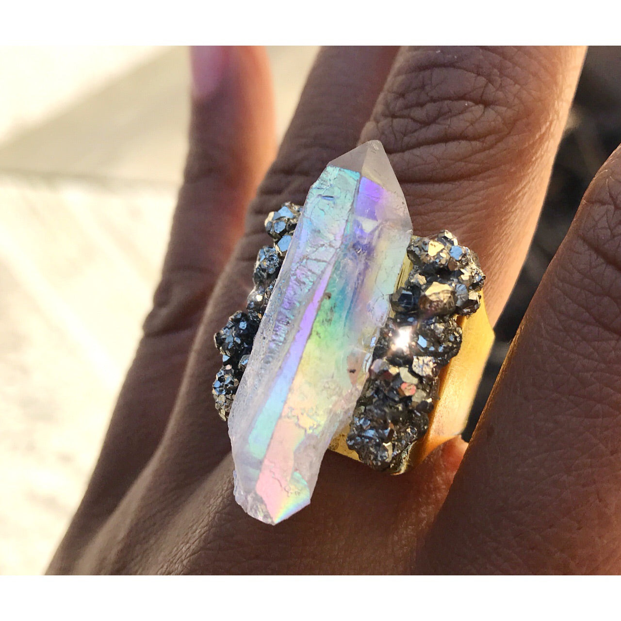 Angel Aura Quartz Point & Pyrite Ring