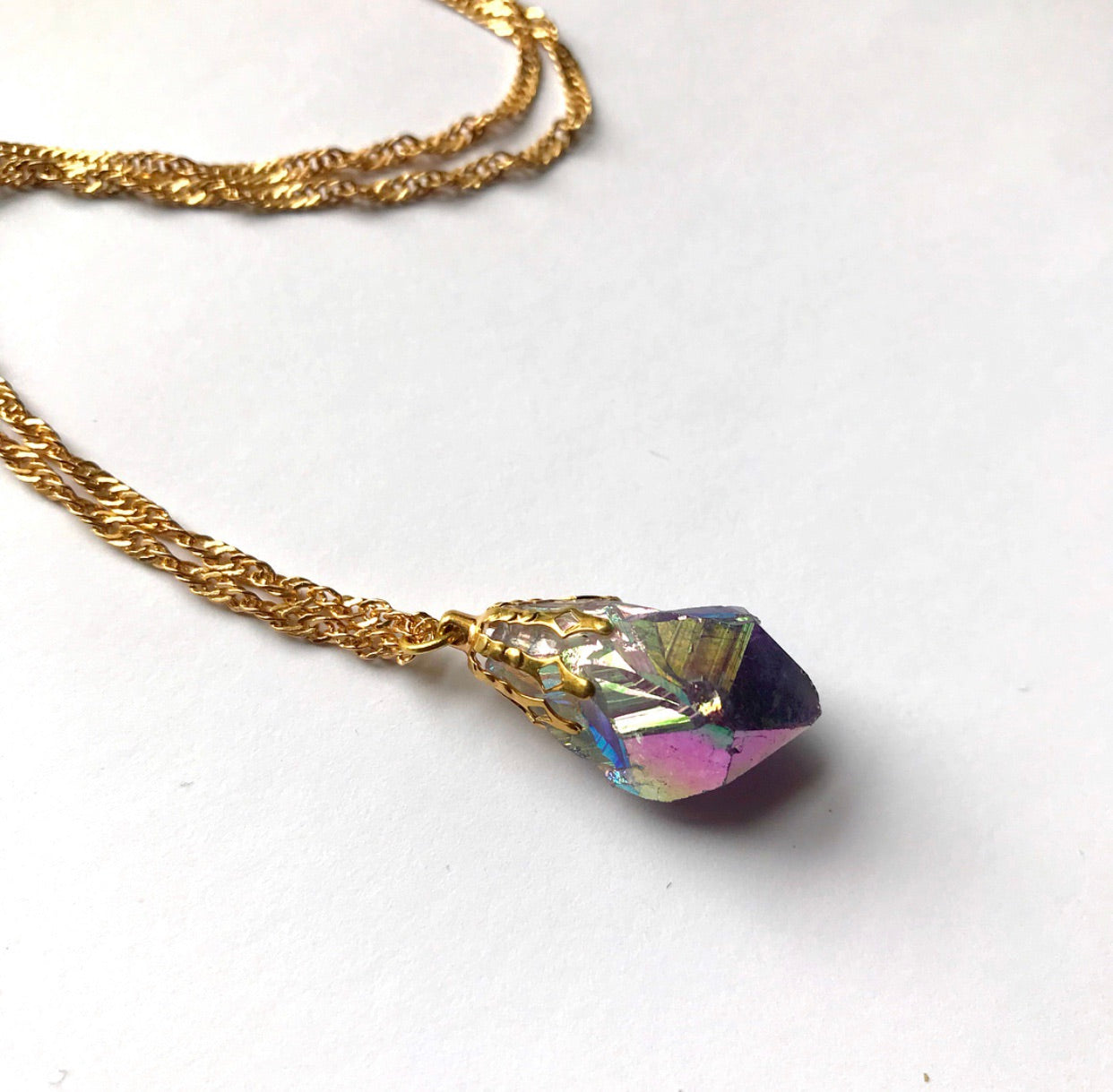 Angel Aura Amethyst Point Necklace