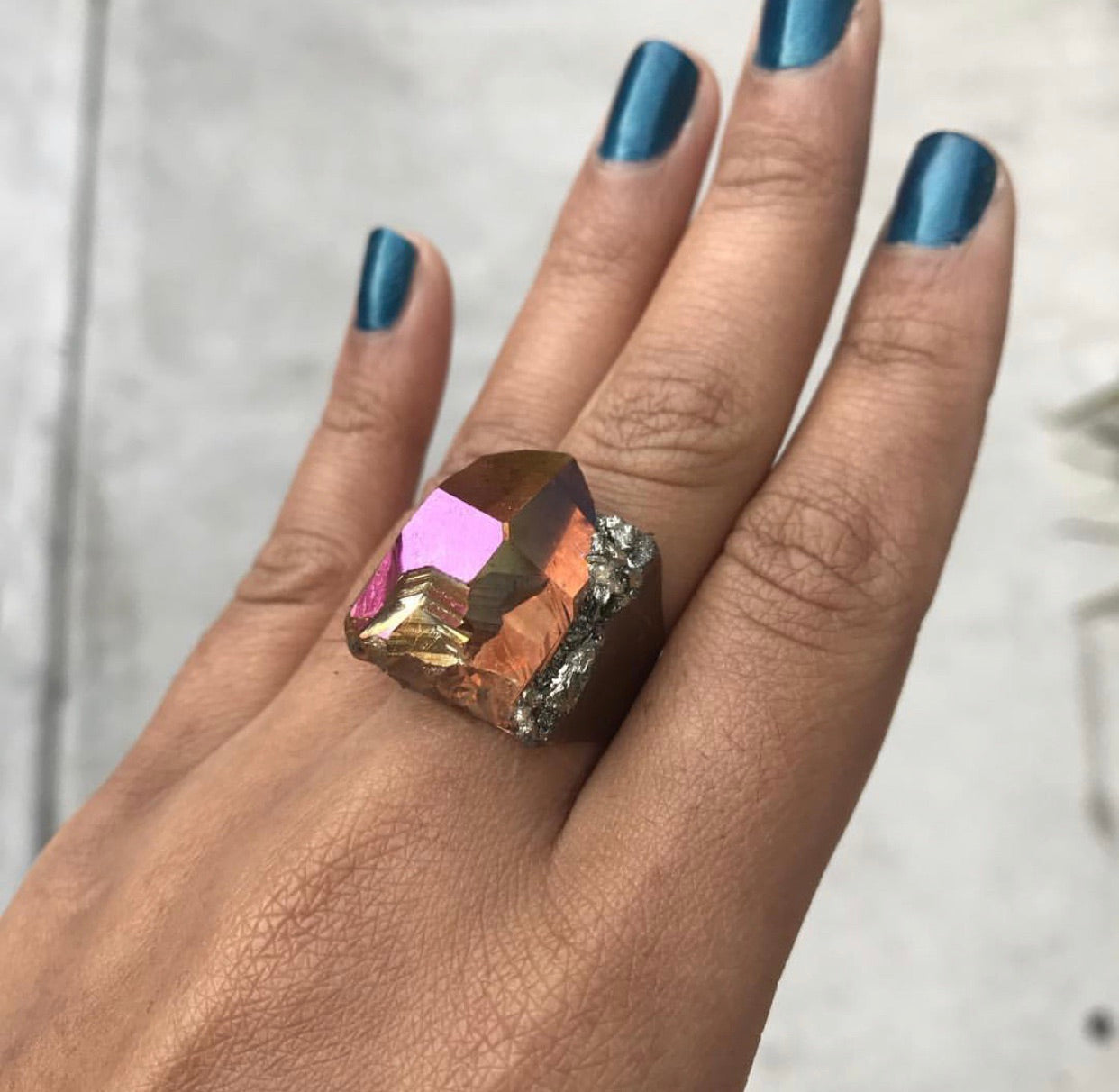 Sunset Aura Quartz & Pyrite Ring