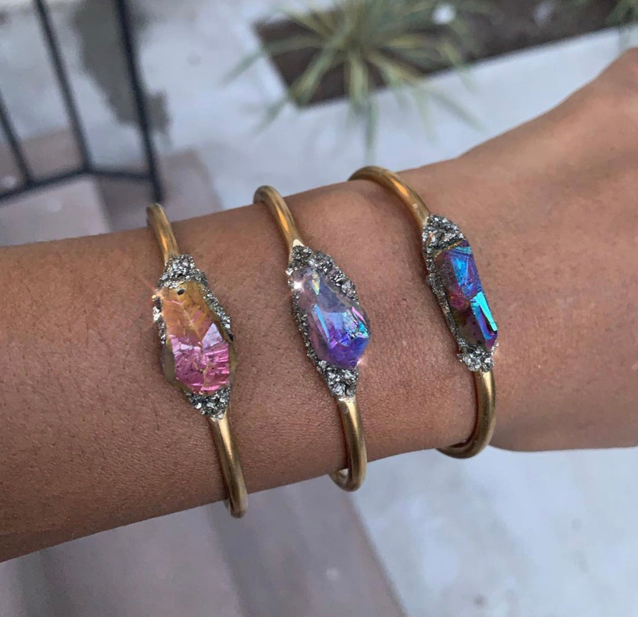 Sunset Aura Quartz & Pyrite Cuff