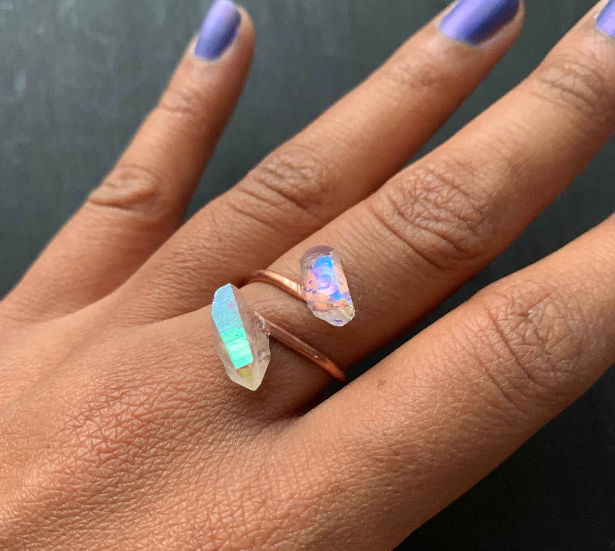 Angel Aura Quartz & Copper Twist Ring