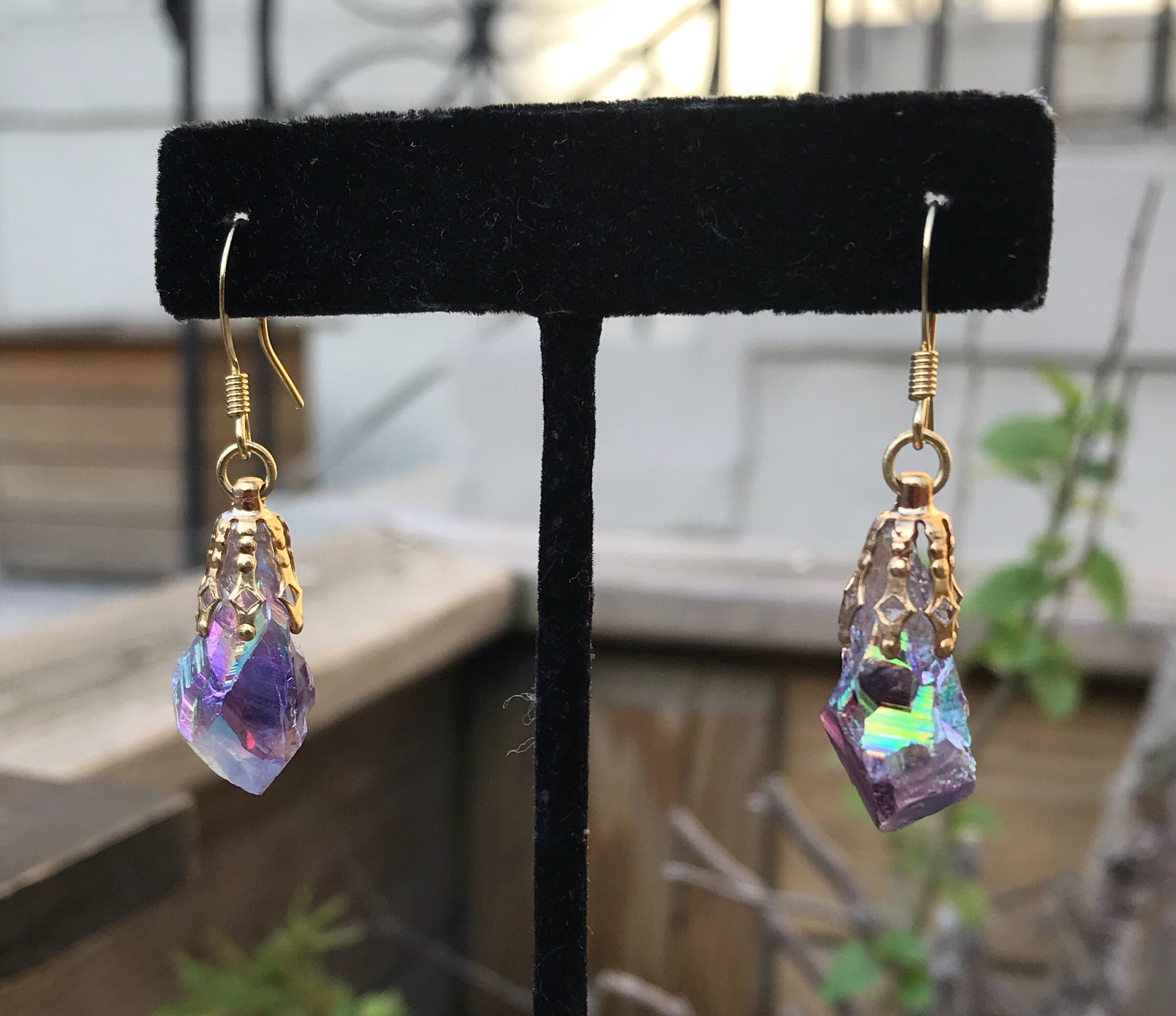Angle Aura Amethyst Drop Earrings