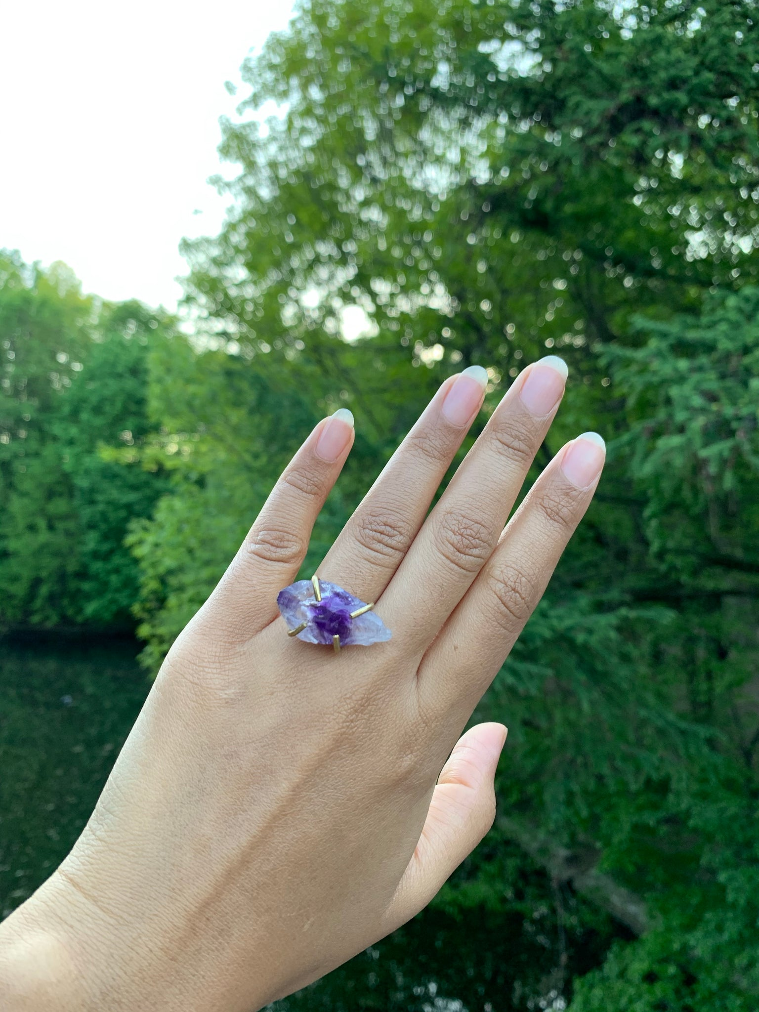 Amethyst Prong Ring
