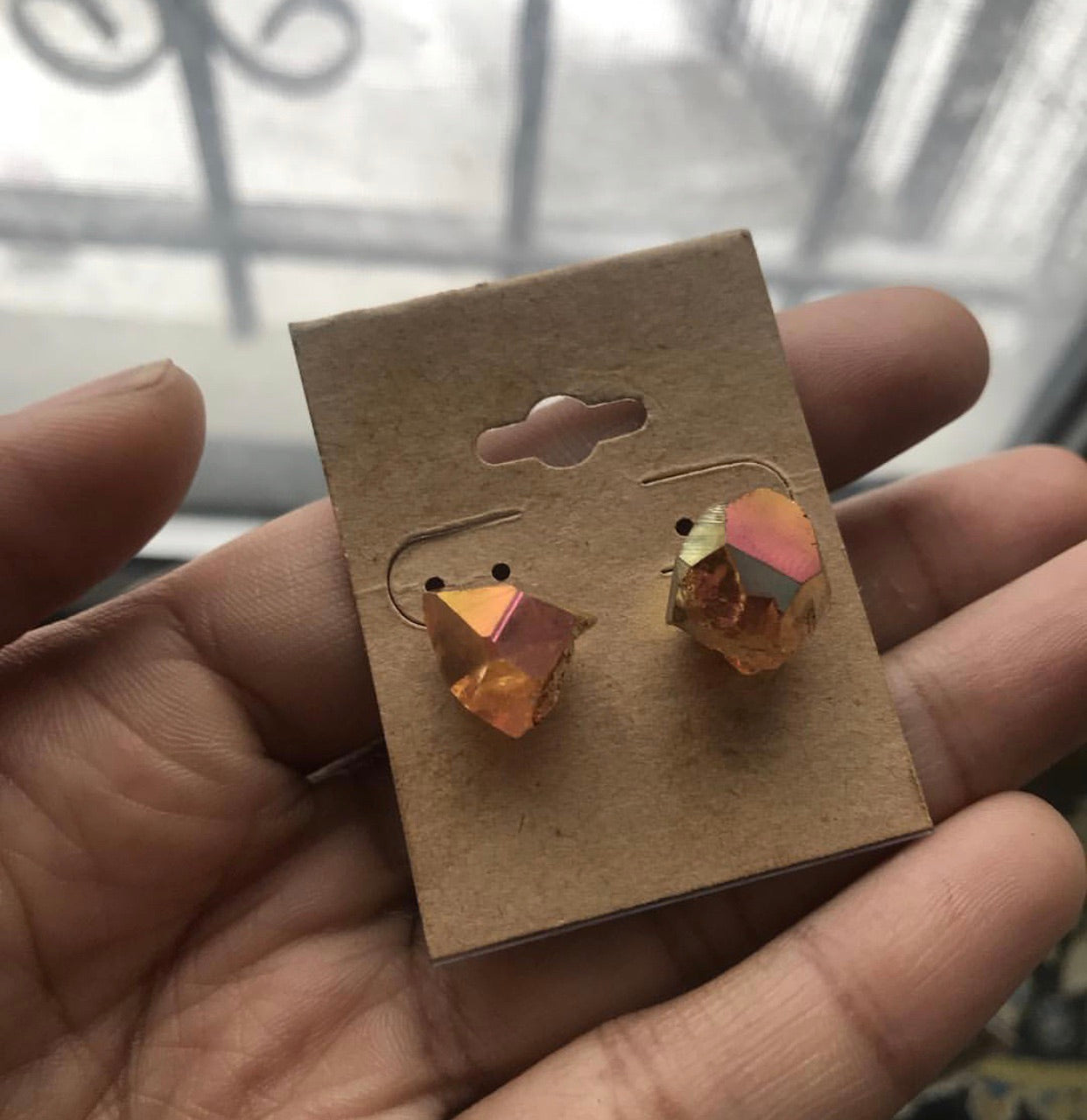 Sunset Aura Quartz Studs