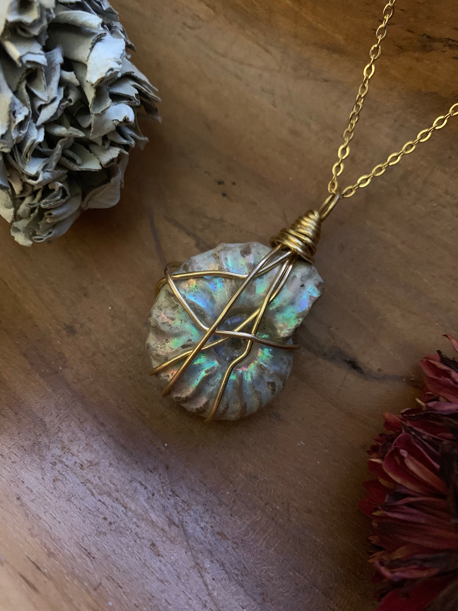 Opalized Ammonite Necklace