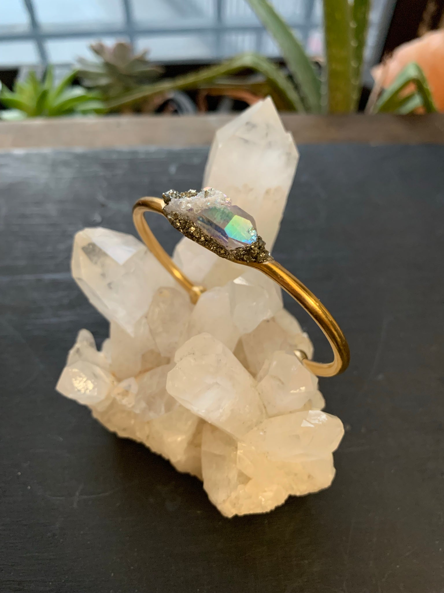 Angel Aura Quartz & Pyrite Cuff